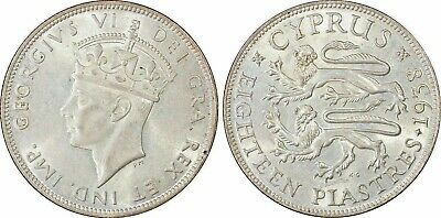 CYPRUS 18 Piastres 1938 in MS62 by PCGS An uncirculated coin !!