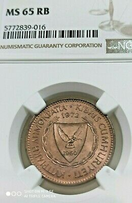 CYPRUS 5 Mils 1972 NGC MS65RB - Uncirculated RED Brown coin - Full Luster