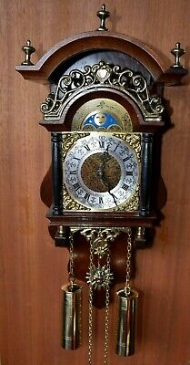 Antique Dutch Sallander 8 Day Wall Clock with Moonphase