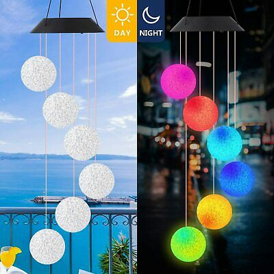 Bird Wind Chimes Solar Powered LED Light Colour Changing Garden Outdoor Decor