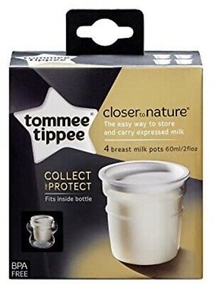 Tommee Tippee CLOSER TO NATURE MILK STORAGE POTS/CONTAINERS x4 Baby Feeding BN