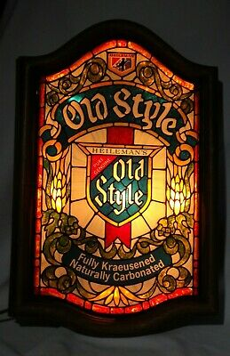 Vintage Heileman Old Style Beer Lighted Bar Sign Faux Stained Glass 25x16 Large