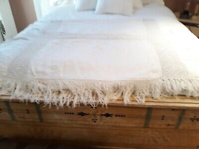 Antique Hand Made bed Covelet White 150 yrs old.