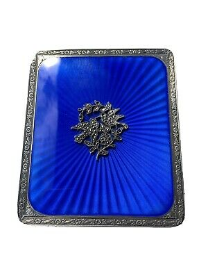 Art Deco Silver And Enamel Compact / Cigarette Case / Card Case With Marcassite