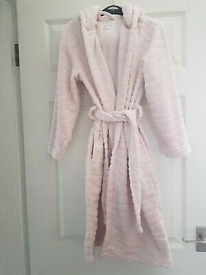 Girl's Pink Hooded Dressing Gown - Aged 9-10 Year's By F&F.