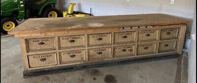 Antique General Country Pharmacy Counter  Kitchen Island Hardware Store 24 Draw