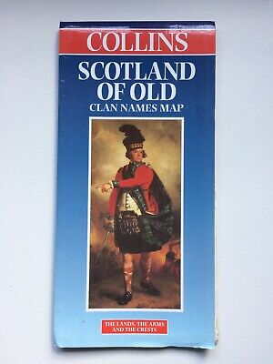 Scotland of Old Clan Names Folding Sheet Map by Collins