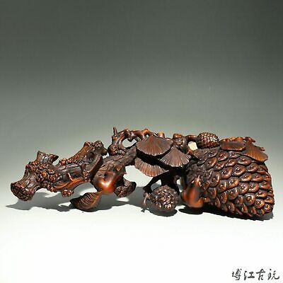 Collectable China Old Boxwood Hand-Carved Pine Tree & Squirrel Delicate Statue