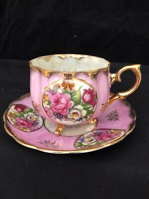 Vintage Footed Cup & Saucer Sterling China Luster Ware Pink Roses Japan