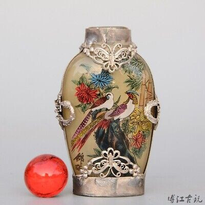 Collect Old Tibet Silver Armour Glass Inside Painting Flower & Bird Snuff Bottle