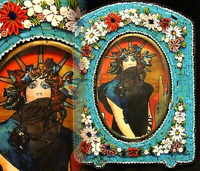 Antique/Vintage Italian Glass Mosaic Tile Easel Back Photo Picture Frame Mucha