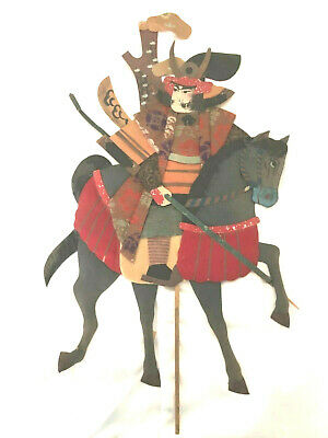 "Antique Japanese Samurai Warrior On Horseback Lg 24"" Oshie Ningyo  Kato Kiyomasa"