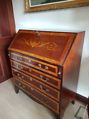 Fine Antique Georgian George III Inlaid and Banded Bureau 4 Drawers