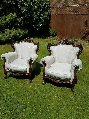 Pair of Fine Reupholstered 19th Century Victorian Arm Chairs Possibly French