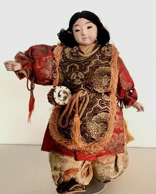 Antique or Vintage Japanese Chinese Girl Drummer Doll  Elaborate Costume 14""