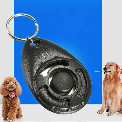 PET DOG CAT TRAINING CLICKER TEACHING BEHAVIOUR TRAIN TOOL WITH KEYCHAIN - Black