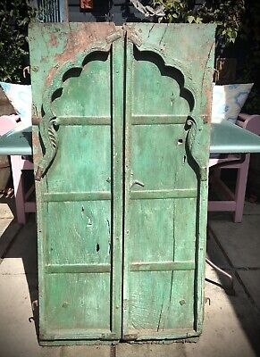 Antique Indian Mughal Arched, Shuttered Doors. Teak. Vintage Rajasthan. Jade.
