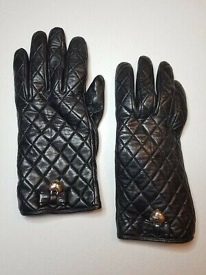 COACH Black Leather Quilted w/Bow Heart Merino Wool Lined Gloves - Womens Sz 7