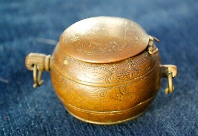 Rare Antique Chinese Bronze Lime Betel Nut Container Asia Spherical & Sprung Lid