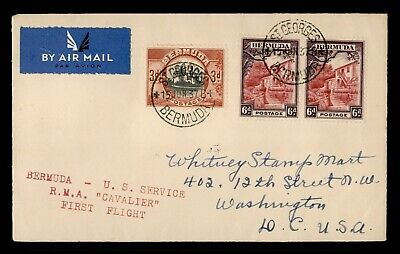 Dr Who 1937 Bermuda St. Georges To Usa First Flight Rma Cavalier Airmail C187560