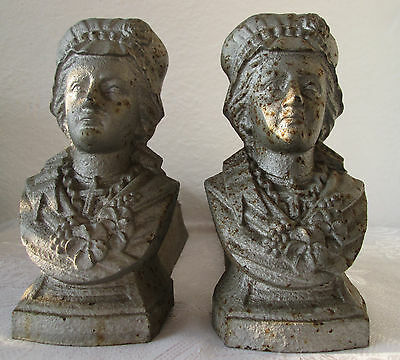 set of  2:  ANTIQUE LARGE CAST IRON Bust Fireplace Andiron Fire-Dog, old metal