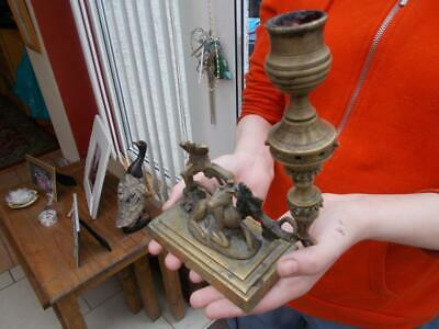 19Th Century Brass Figural Candle Holder Deer Vines Grapes