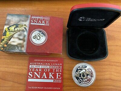 Perth Mint 2013 One Ounce silver proof coloured edition Year of Snake with COA
