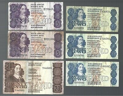 South Africa ✨ 2 Rand x 3; 5 Rand x 2 & 20 Rand x 1 ✨ Collections & Lots