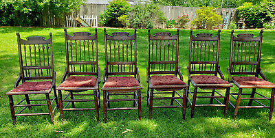 Antique Victorian Oak Dining Chairs Set of 6