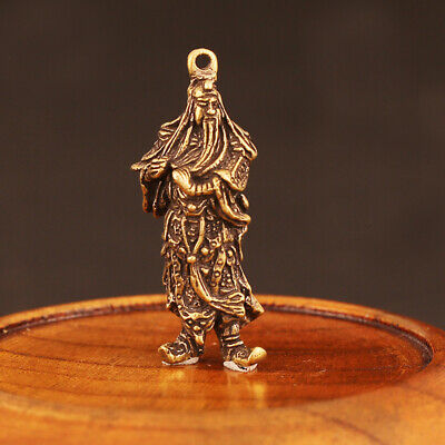 Collecta China Old Bronze Hand-Carved General Guan Yu Delicate Souvenir Pendant