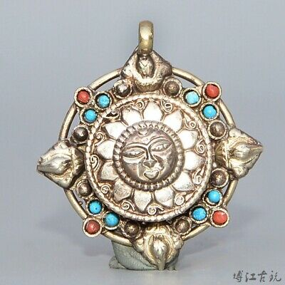 Collectable Old Miao Silver Inlay Turquoise Hand-Carved Heronsbill Decor Pendant