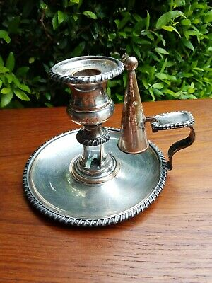 Antique English Sheffield Silver Plate Candle Holder With Original Snuffer