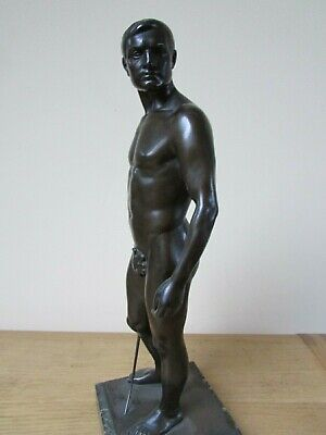 antique style bronzed spelter male figure with sword signed O. Bodin