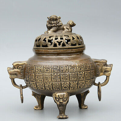 Collect China Old Bronze Hand-Carved Myth Lion & Special Characters Fine Censer