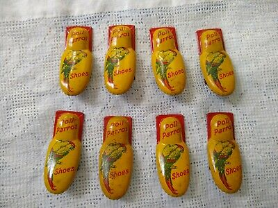 Lot of 8 Vintage Poll Parrot Shoes Tin Litho Toy Clickers Noisemaker Cricket