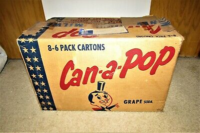 1957 CAN-A-POP grape soda 12 oz 48 FLAT TOP cans box  [box only!]