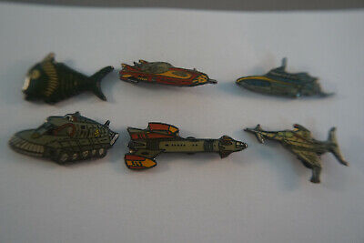 Six Gerry Anderson Collection Pins Complete Set