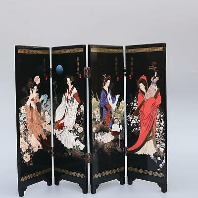 Collectable Woodware Hand-Made China Ancient Four Beauties Decor Screen Statue