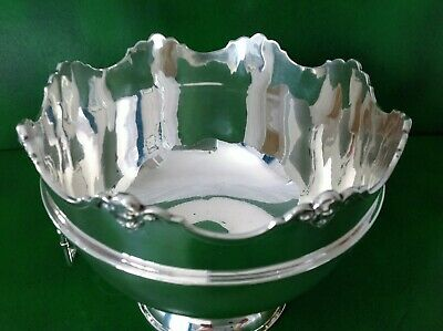 Large William Hutton English Antique Sterling Silver Monteith Punch Bowl 1913