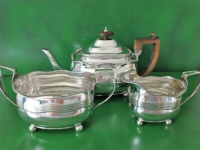 Antique English Georgian Sterling Silver 3 Piece Tea Set
