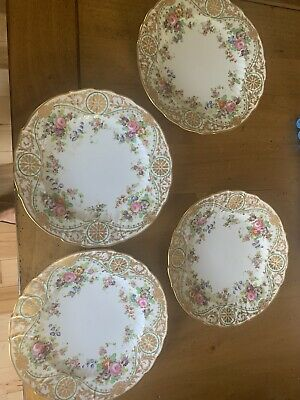 Set Of Four Plates Charles Reizenstein Saxe Allegheny NY 9 3/4""