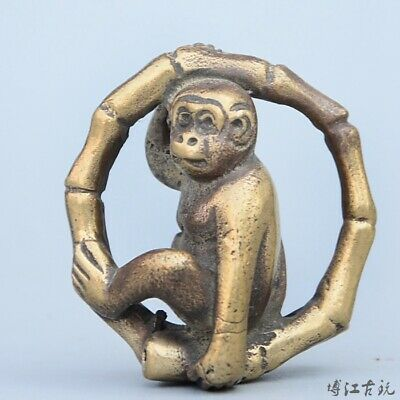 Collectable China Old Bronze Hand-Carved Naughty Monkey Delicate Unique Statue