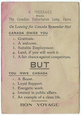 CANADA Canadian Embarkation Camp Havre, France WWI Message Postcard cgb