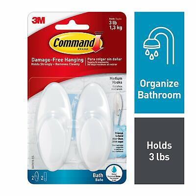 3M Command Bathroom Hook with Water Resistant Strips - Medium, White