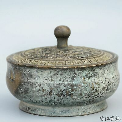 Collectable China Old Bronze Hand-Carved Bloomy Flower Delicate Unique Censer