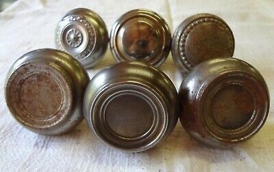 Lot of 6 ANTIQUE VINTAGE ORNATE STEEL SILVER DOORKNOBS DOOR KNOBS