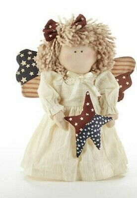 "New Primitive USA Patriotic Americana Angel Cloth Doll w Star 10"" July 4th"