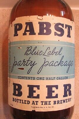 1930s Pabst Blue Label Party Beer IRTP bottle 1-gallon Milwaukee Wisconsin 4%