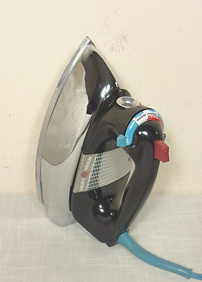 Vintage GE GENERAL ELECTRIC Steam Iron (60s) Mid Century CHROME! WORKS WELL!