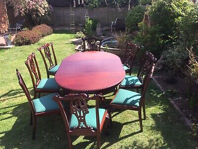 Chippendale Rivival Dining Table & 1x Carver & 7x Chairs.